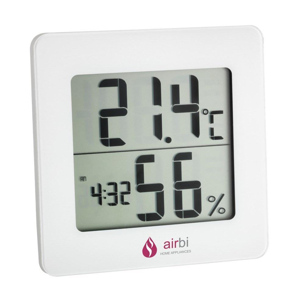 Digitální teploměr s vlhkoměrem, hodinami Airbi DIGIT - bílý
