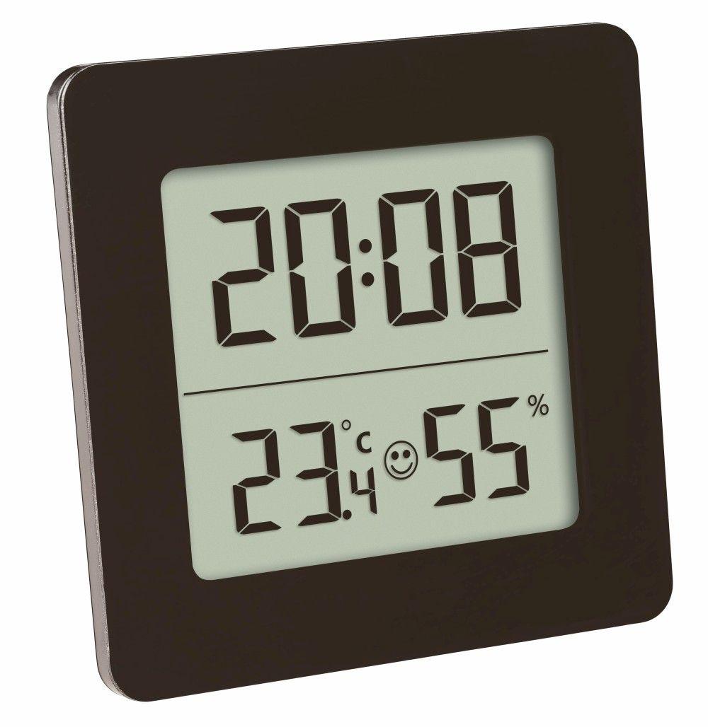 Digitální teploměr s vlhkoměrem a hodinami TFA 30.5038.01, černý
