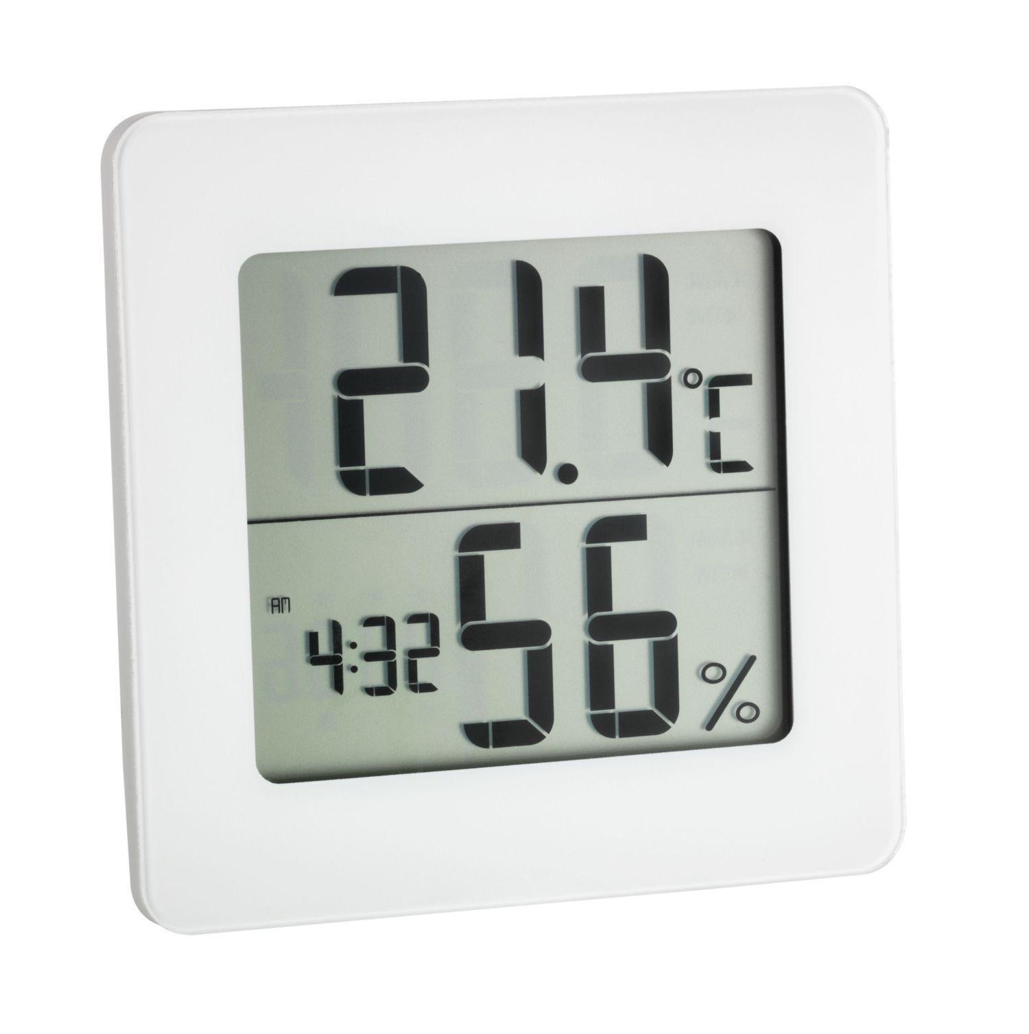 Digitální teploměr s vlhkoměrem, hodinami TFA 30.5033.02, bílý